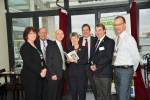 Pennotec's Dr Jonathan Hughes and Agroceutical Products Ltd's Kevin Stephens with Jane Hutt AM and BEACON representatives from Swansea University (Prof. Diane Kelly and Prof. Stephen Kelly), Bangor University (Dr Rob Elias) and Aberystwyth University (Dr Mike Morris - BEACON Business Development Manager).